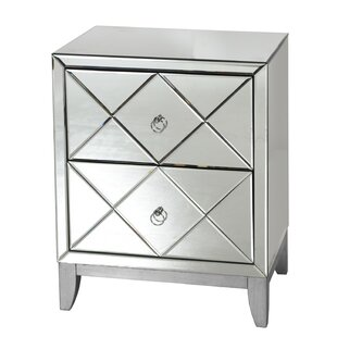 Worlds Away 2 Drawer Mirrored End Table