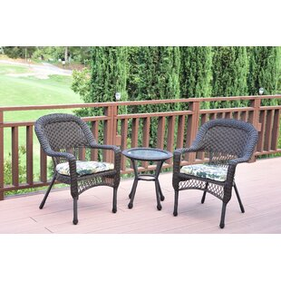 Belwood Resin Wicker 3 Piece Dining Set with Floral Cushions  sc 1 st  Wayfair & Outdoor Resin Table And Chairs | Wayfair