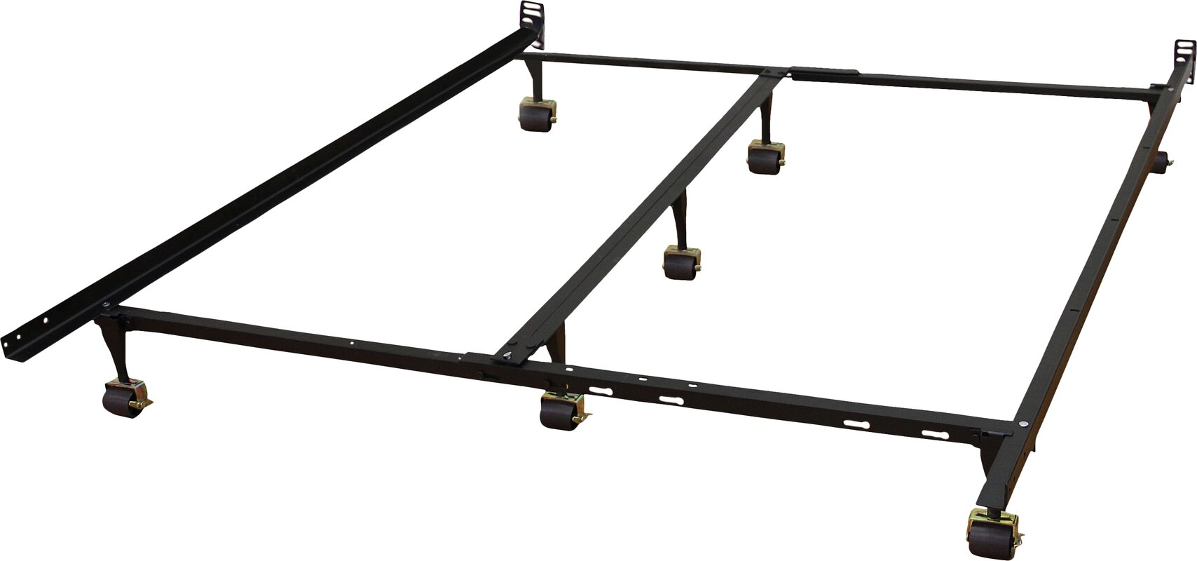 heavy duty adjustable metal bed frame with double rail center bar and 7locking rug