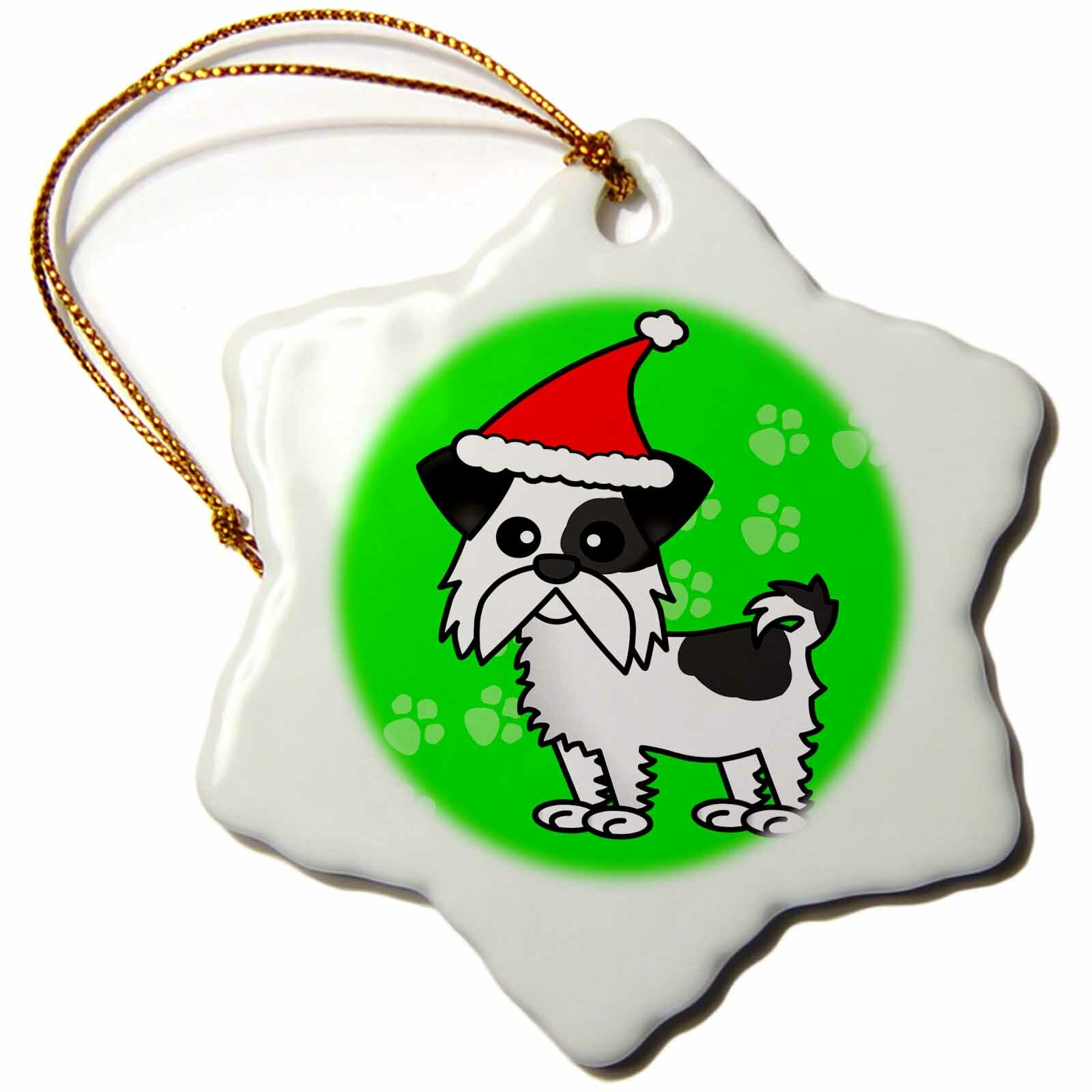 The Holiday Aisle Cute Shih Tzu With Santa Hat Holiday Shaped Ornament Wayfair