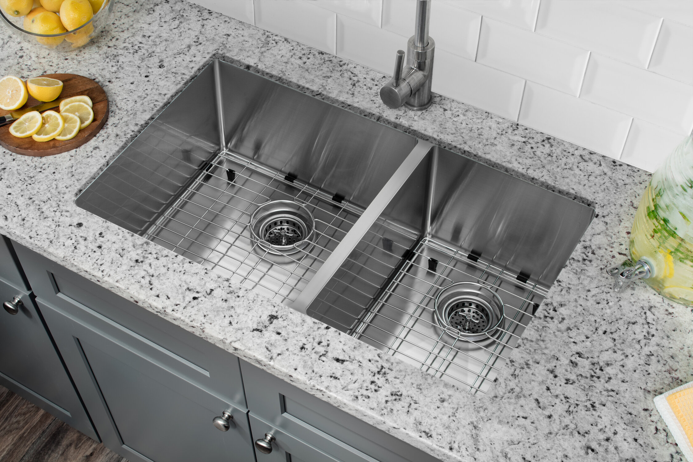 Double Bowl Stainless Steel Kitchen Sink.Radius 16 Gauge Stainless Steel 32 X 19 60 40 Double Bowl Undermount Kitchen Sink