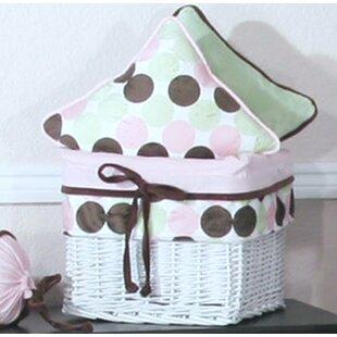 Minky Pink Chocolate Polka Dot Wicker Basket by Brandee Danielle