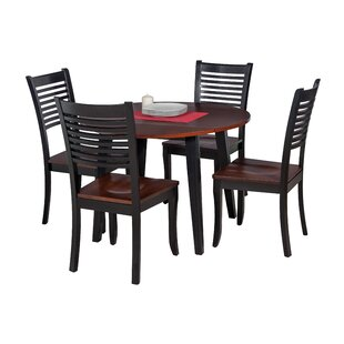 Dinh Modern 5 Piece Drop Leaf Solid Wood Dining Set