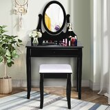 Ristaino Vanity Set with Stool and Mirror by Alcott Hill®