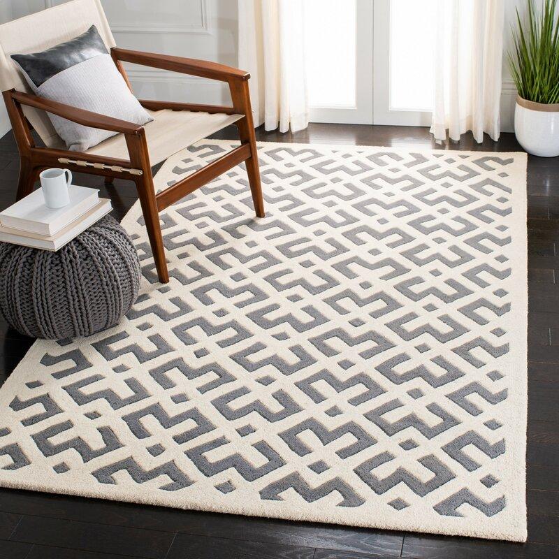 Wrought Studio Wilkin Hand Tufted Wool Dark Grey Ivory Area Rug Reviews Wayfair