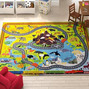 Weranna Animal Safari Road Map Educational Learning Yellow/Blue Indoor/Outdoor Area Rug