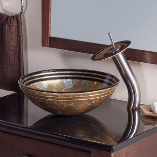 Novatto Celebrazione Glass Circular Vessel Bathroom Sink with Faucet