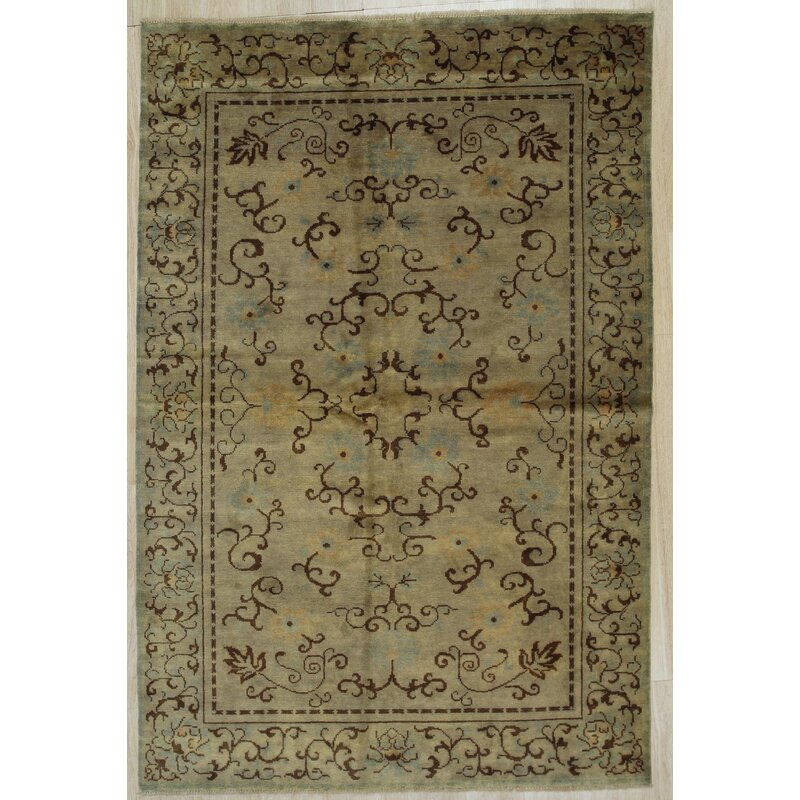 Canora Grey Belteau Hand Knotted Wool Green Rug Wayfair