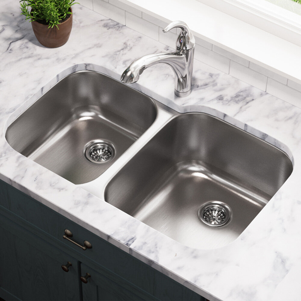 Mrdirect Stainless Steel 32 X 21 Double Basin Undermount Kitchen Sink Reviews Wayfair