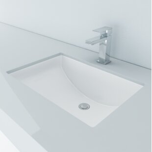 bathroom sink. Vitreous China Rectangular Undermount Bathroom Sink With Overflow