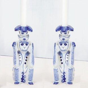 Hear No Evil Porcelain Candlestick (Set of 2)