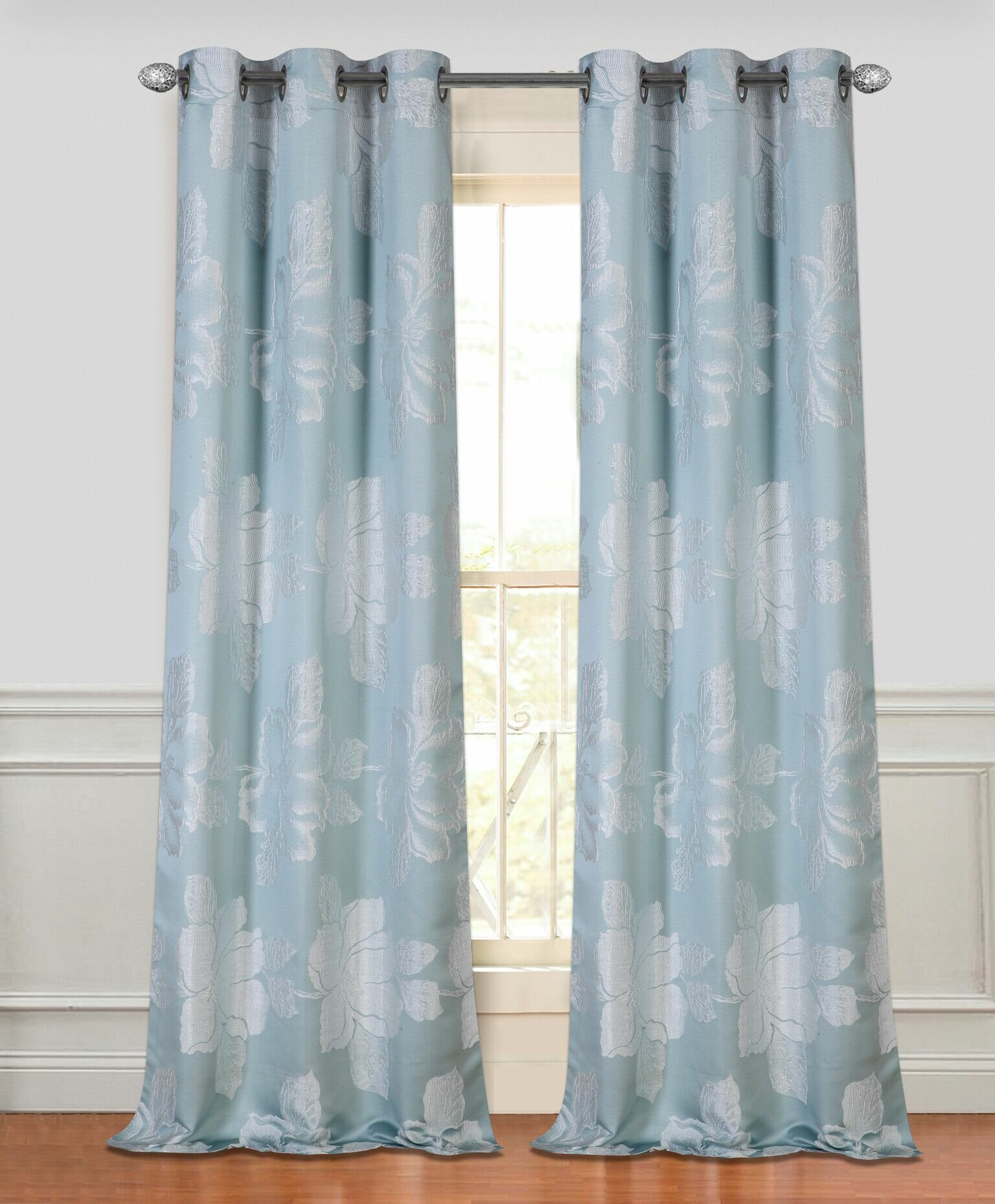 Dainty Home Park Floral Semi Sheer Grommet Curtain Panels & Reviews