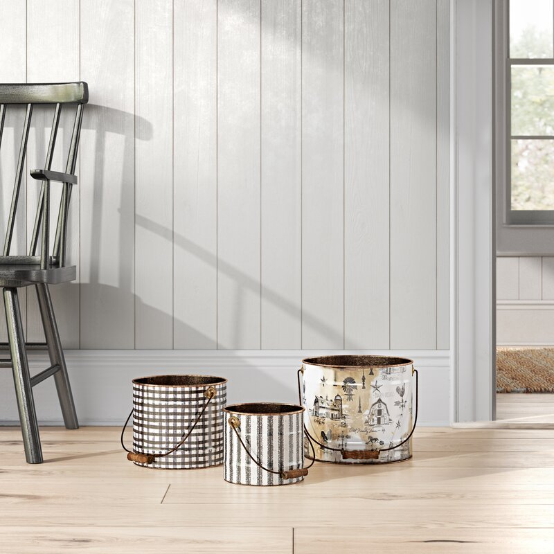 Birch Lane Flippo 3 Piece Metal Bucket Set Reviews Wayfair