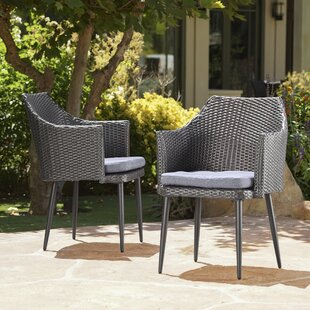 George Oliver Brant Patio Dining Chair with Cushion (Set of 2)