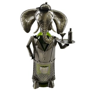 Elephant Waiter Metal 1 Bottle Tabletop W..