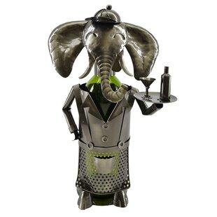 Elephant Waiter Metal 1 Bottle Tabletop Wine Bottle Rack by Wine Bodies