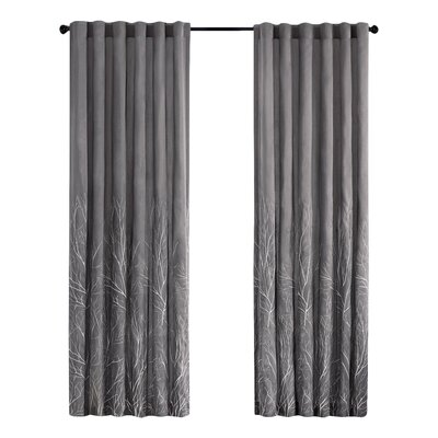 August Grove Gladeview Nature/Floral Room Darkening Rod Pocket Single Curtain Panel Color: Gray, Size per Panel: 50 W x 95 L