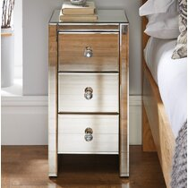 One Drawer With Storage On The Bottom Mirrored Glass Cabinet Bedside Table Desk