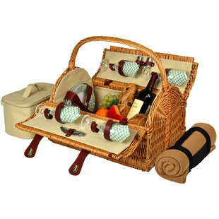 Yorkshire Picnic Basket with Blanket for Four