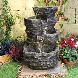 Cheap Price Mini 4 Tier Rock Fall Resin Water Feature With Light