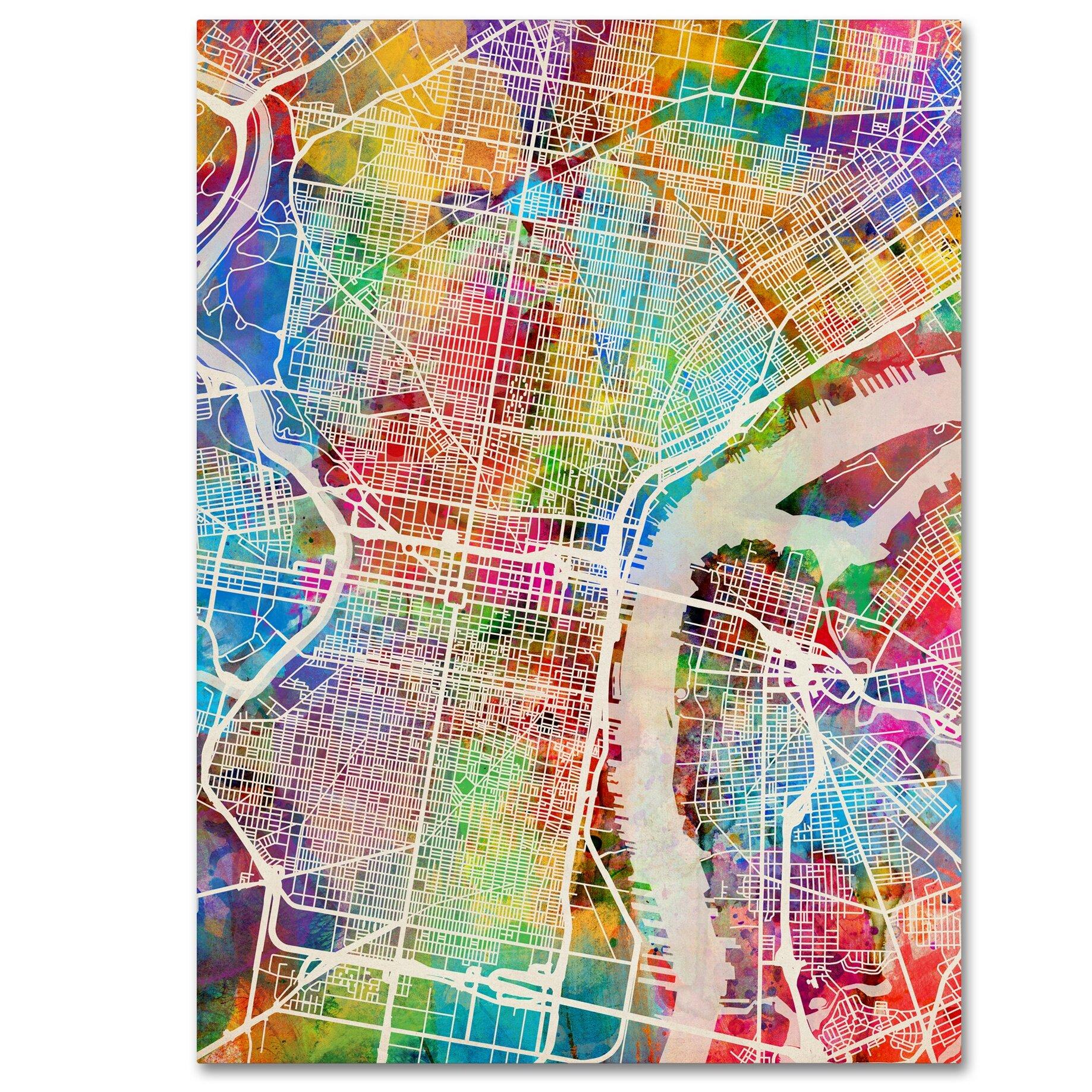 Trademark Art Philadelphia Pennsylvania Street Map Graphic Art On Wrapped Canvas Wayfair