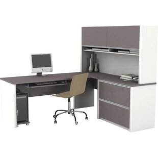 Aurea Pedestal Reversible L-Shape Executive Desk with Hutch