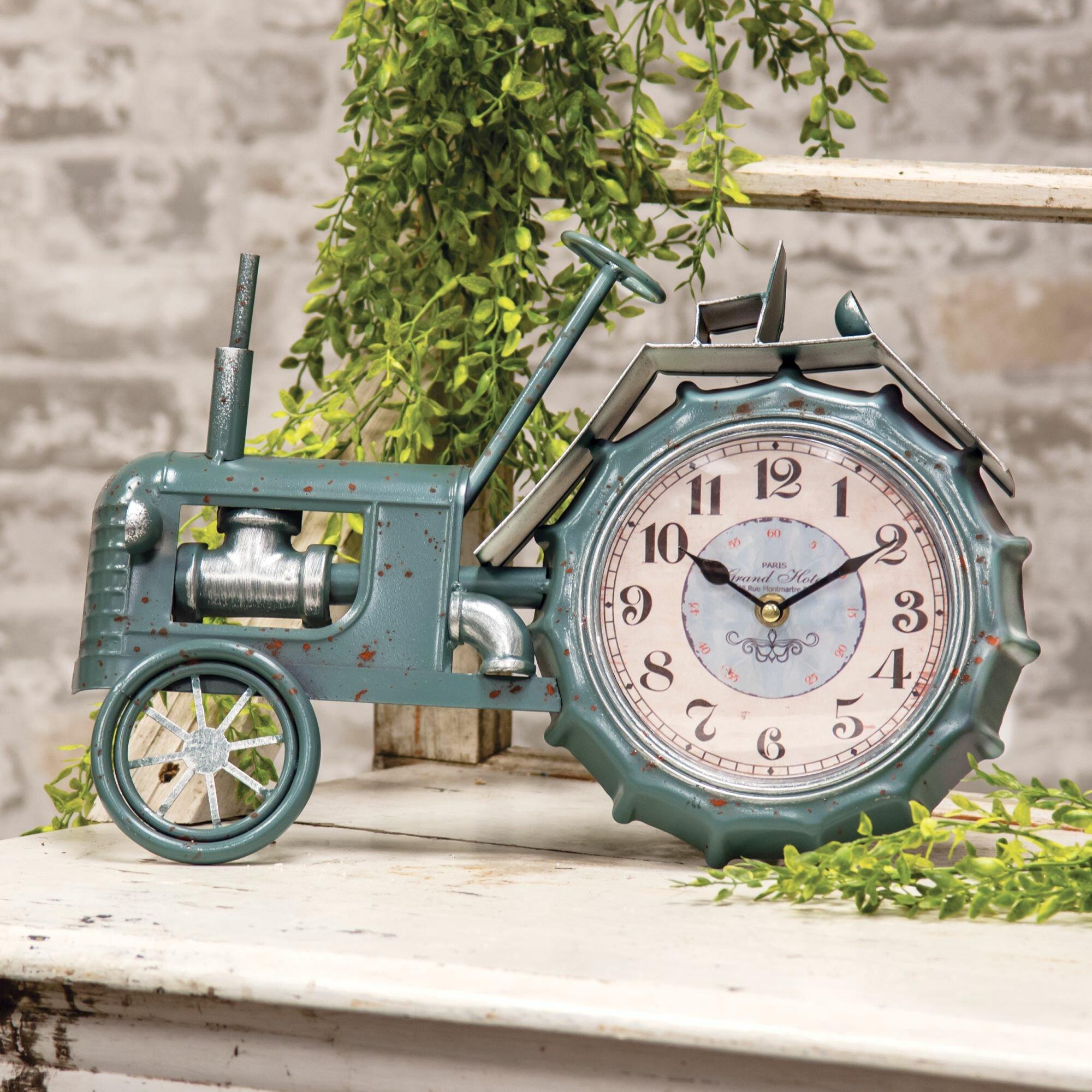 Unique Vintage-Look Old-Time Tractor Model Clock Desk Bookcase Nightstand Decor