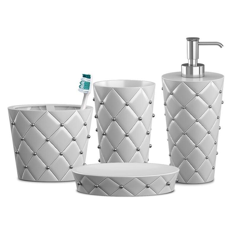 Red Barrel Studio Ceramic Jewel Collection Bathroom Accessories Set For Vanity Countertops Dispenser Soap Dish Toothbrush Holder And Tumbler Ceramic White Finish White Reviews Wayfair Ca