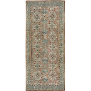 One-of-a-Kind Oushak Hand-Knotted Runner 12'6 x 27' Wool Rose/Aqua Indoor Area Rug by Bokara Rug Co., Inc.