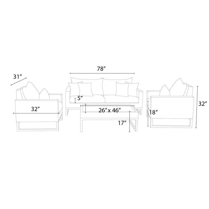 Minor 4 Piece Rattan Sunbrella Sofa Set With Cushions Joss Main