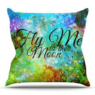 Fly Me To The Moon By Ebi Emporium Outdoor Throw Pillow by East Urban Home