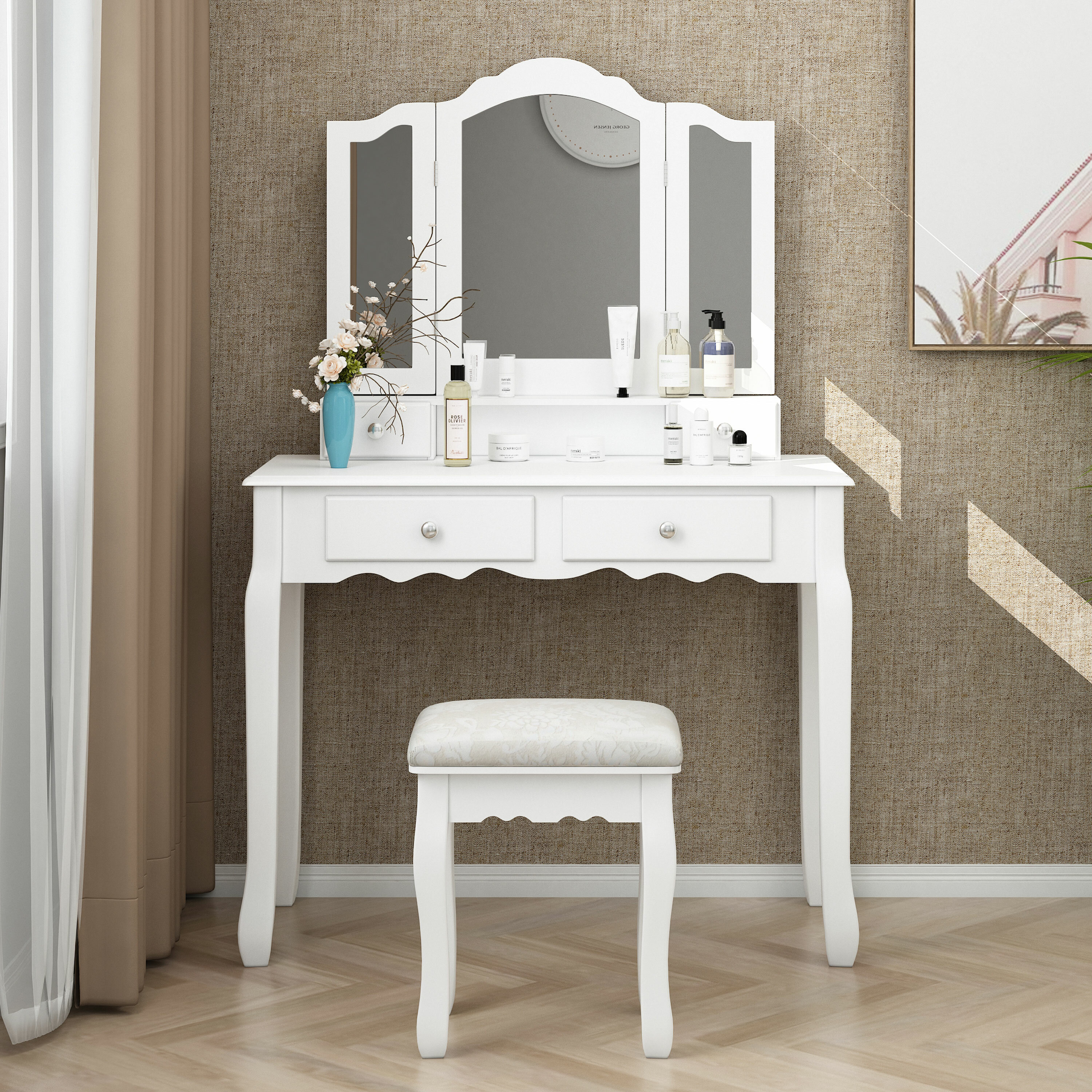 House Of Hampton Rippeon Makeup Vanity Set With Stool And Mirror Reviews