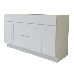 Shaker Cabinet 60 Double Bathroom Vanity Base Only By NGY Stone & Cabinet