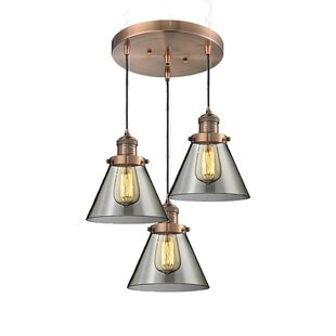 Milbrandt Glass Cone 3-Light Pendant by Williston Forge