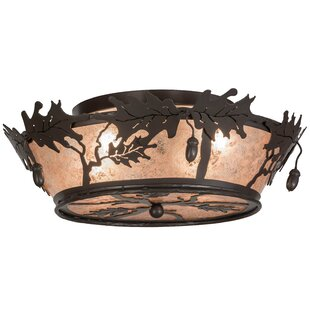 Meyda Tiffany Oak Leaf and Acorn 4-Light Flush Mount