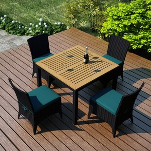 Holbrook 5 Piece Teak Dining Set with Sunbrella Cushions