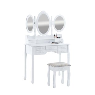 Barbery Dressing Table Set With Mirror By Lily Manor
