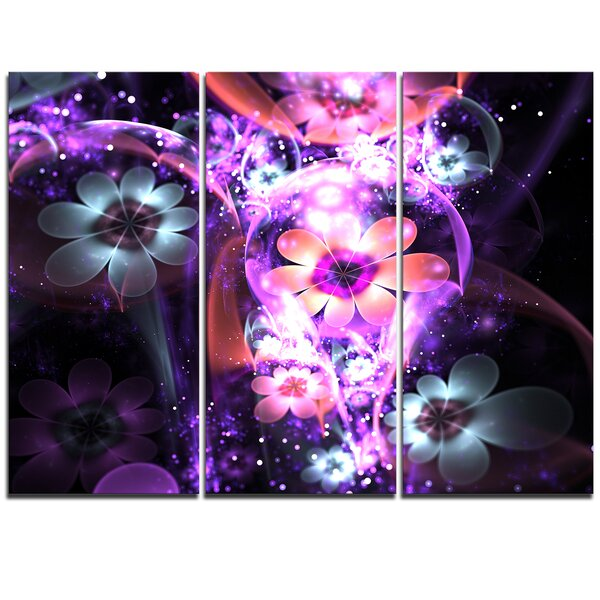Designart Fractal Flower Dark Purple 3 Piece Graphic Art On Wrapped Canvas Set Wayfair