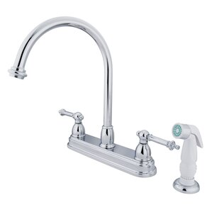 Kingston Brass Tremont Double Handle CentersetKitchen Faucet with White Spray