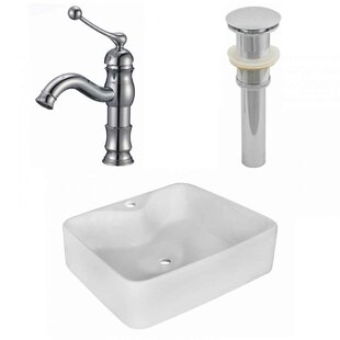 Coupon Ceramic Rectangular Vessel Bathroom Sink with Faucet By American Imaginations