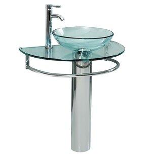 Reviews Attrazione Glass Glass 35 Pedestal Bathroom Sink By Fresca