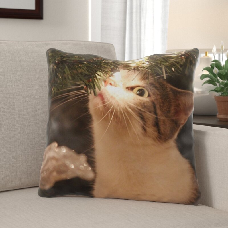 The Holiday Aisle Raby Kitty Indoor Outdoor Canvas Throw Pillow Wayfair