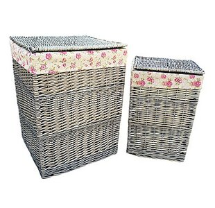 2 Piece Wicker Laundry Set With Garden Rose Lining By Fleur De Lis Living
