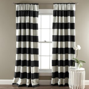 Bailey Striped Blackout Thermal Curtain Panels (Set Of 2). Black And Off  White ...