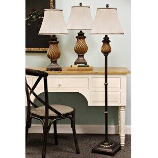 Astoria Grand Southfield 3 Piece Table and Floor Lamp Set