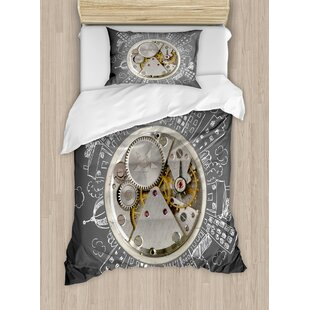 Clock Print with Buildings and Clouds Around It Checking the Time Duvet Set by Ambesonne