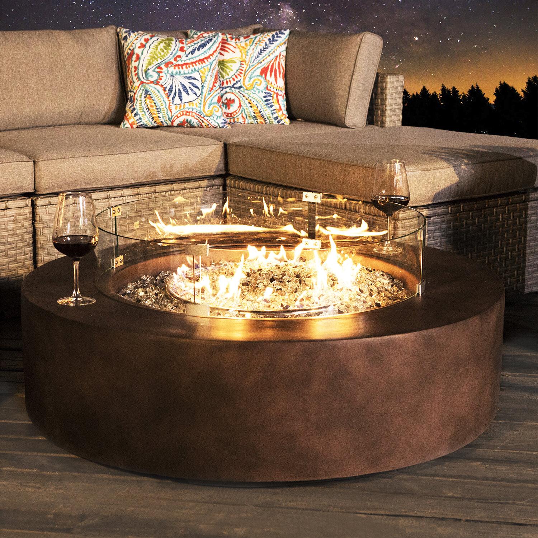 17 Stories Langport Concrete Propane Fire Pit Table Reviews Wayfair