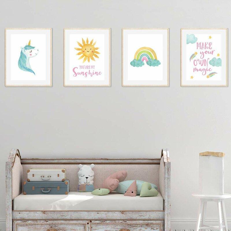 Harriet Bee Dennett Unicorn Rainbow You Are My Sunshine, Make Your Own Magic 4-Piece Set Paper Print   Wayfair