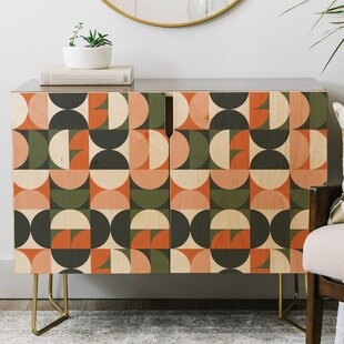 The Old Art Studio Mid Century Geometric Credenza East Urban Home