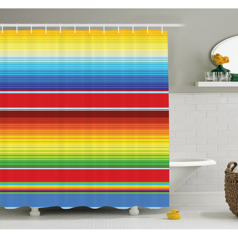 Ambesonne Mexican Horizontal Colored Ethnic Blanket Rug Lines ...